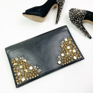 bebe Black Leather Clutch Purse Gold Stud Spike